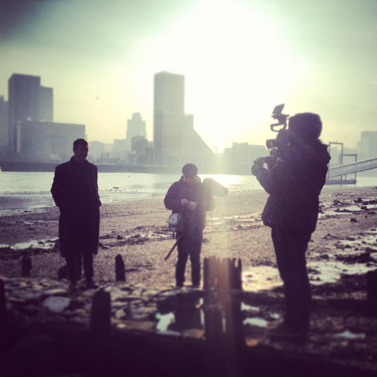 Jamie Filming Canary Wharf